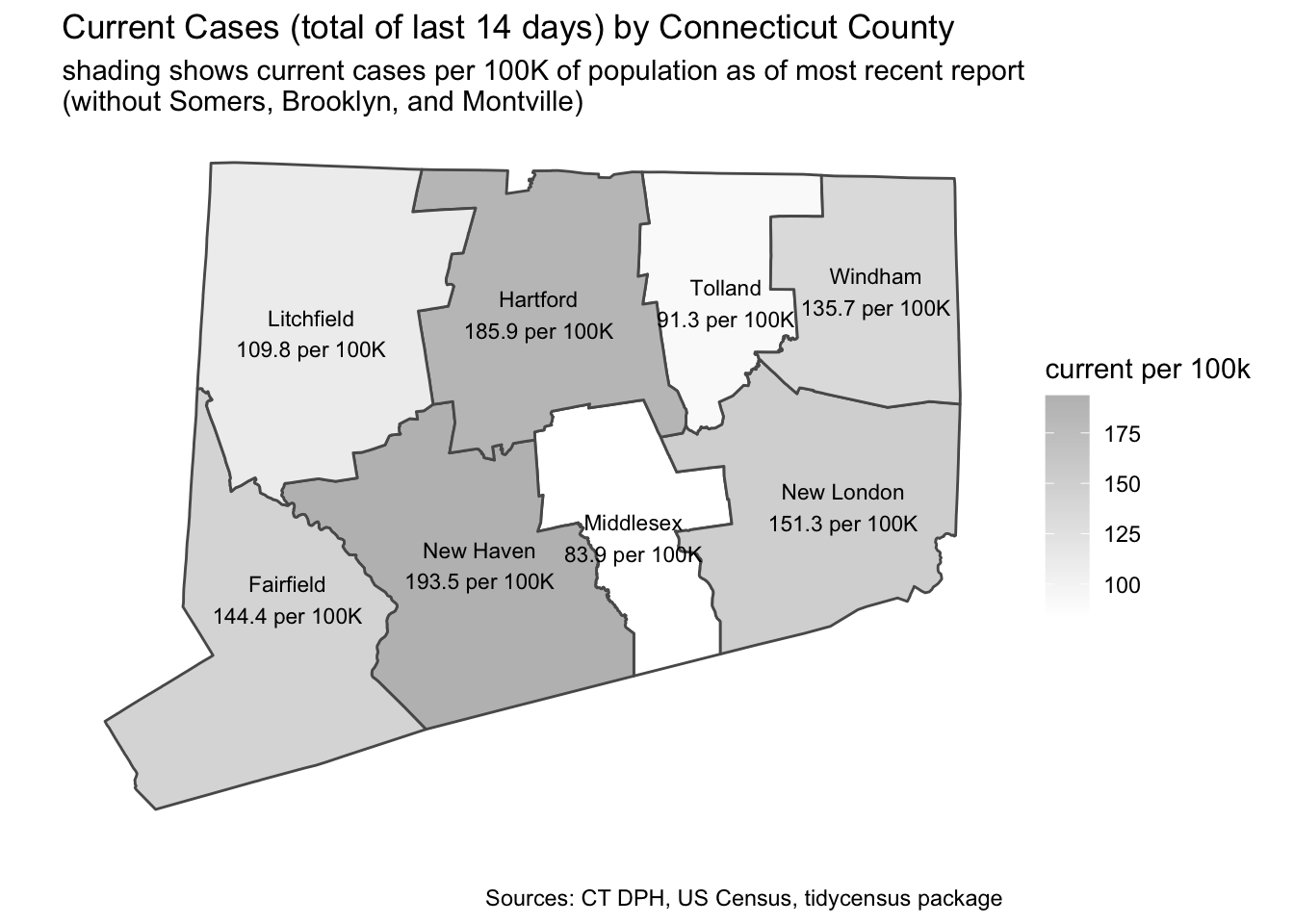 County Maps of New and of Cumulative Cases