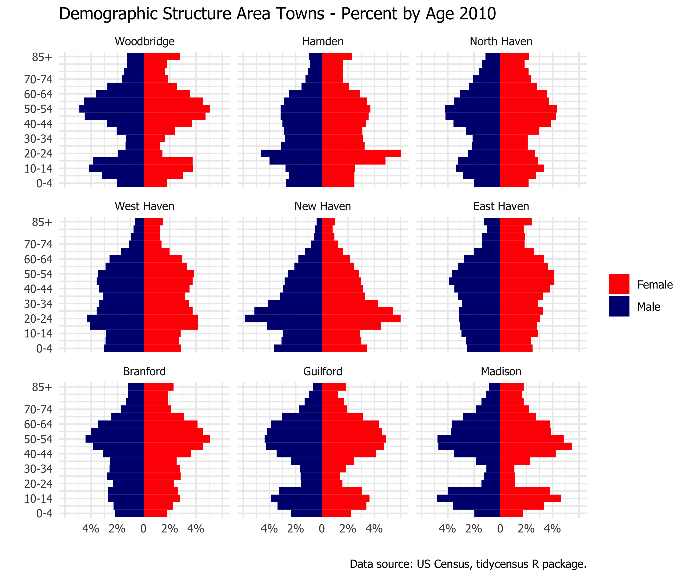 population pyramid area towns by percent