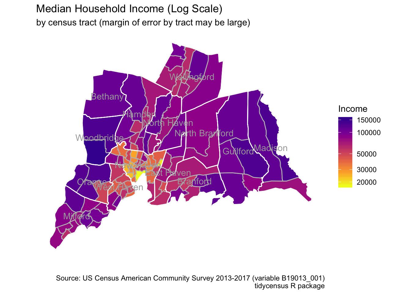 Working with New Haven Area Census Data Using R · John Goldin